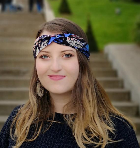 headband a fleurs bleuet Dikta