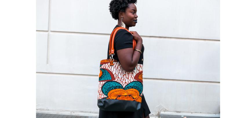 maxi sac africain en lin, wax et similicuir de chez dikta