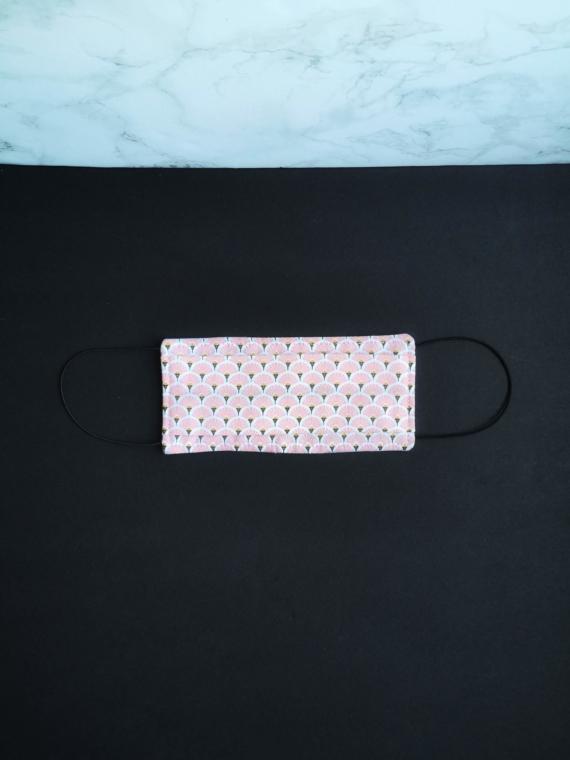 Masque en tissu lavable elastiques oreilles rose dikta