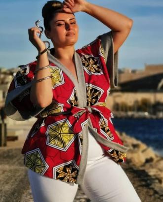 kimono en wax et molleton rouge et gris